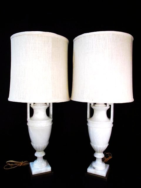 PAIR VINTAGE CARVED ALABASTER URN FORM TABLE LAMPS