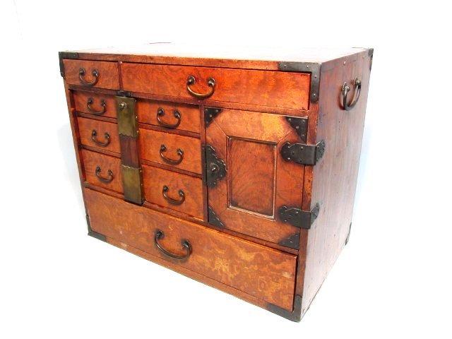 CHINESE BURLED WOOD JEWELRY BOX