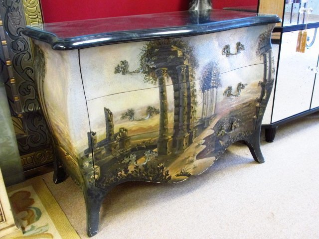 MAITLAND SMITH HAND PAINTED BOMBE STYLE CHEST