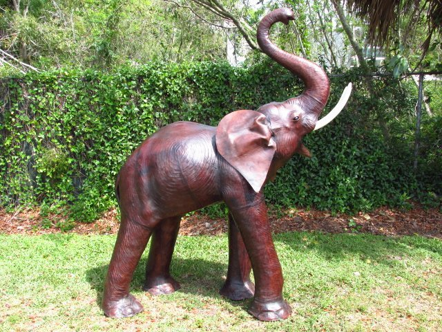 MONUMENTAL VINTAGE LEATHER WRAPPED ELEPHANT