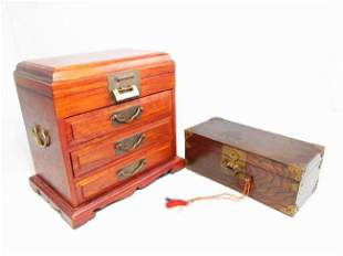 TWO CHINESE LOCKING JEWELRY BOXES/CHESTS