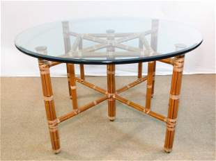 MCGUIRE STYLE ROUND BAMBOO GLASS TOP DINING TABLE