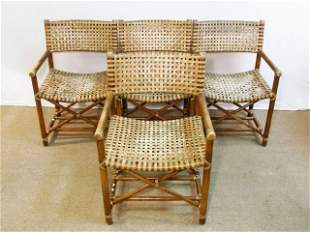 FOUR MCGUIRE BAMBOO & RAWHIDE ARMCHAIRS