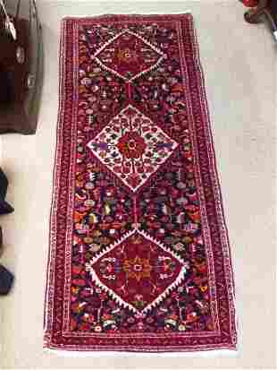 """EARLY 20TH C HAMADAN HAND KNOTTED WOOL RUG - 2'7"""" X"""