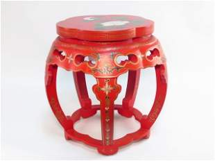 CHINESE HAND PAINTED RED LACQUER STOOL OR PEDESTAL