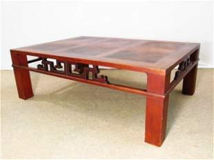 VINTAGE HENREDON TEAK PARQUETRY INLAID COFFEE TABLE