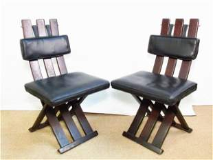 PAIR MID CENTURY DINING CHAIRS BY HARVEY PROBBER