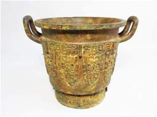 MAYAN STYLE PATINATED BRONZE POT OR PLANTER
