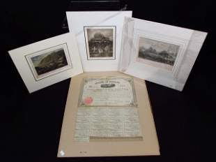 19th CENTURY RAIL WAY STOCK, SIGNED ENGRAVINGS
