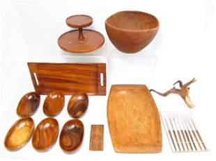 ASSORTED MID CENTURY WOODEN TABLEWARES & DECORATIVES 13