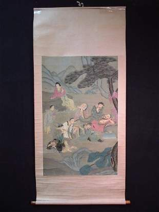 EARLY 20TH C JAPANESE HAND PAINTED SILK SCROLL