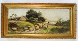 VINTAGE FRAMED OIL ON PANEL PAINTING: FLOCK OF SHEEP