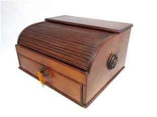 19TH C ENGLISH TAMBOUR JEWELRY BOX