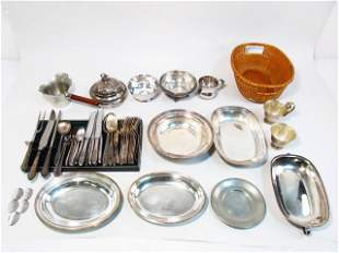 ASSORTED SILVER PLATED TABLEWARES & UTENSILS