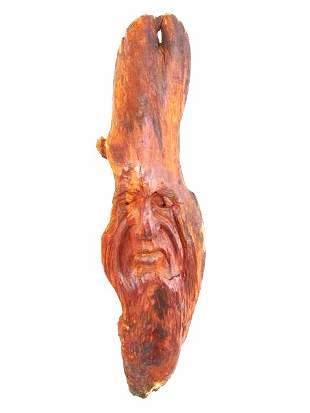 PRIMITIVE STYLE WOOD CARVING OF A MANS FACE SIGNED