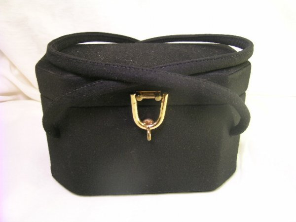 601: VINTAGE RONAY BLACK BOX HANDBAG AND MIRROR CASE