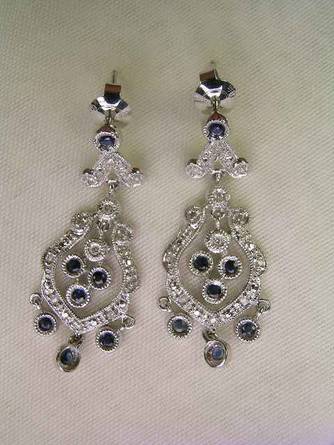 617: 14 KT WT GOLD DIAMOND SAPPHIRE CHANDELIER EARRINGS