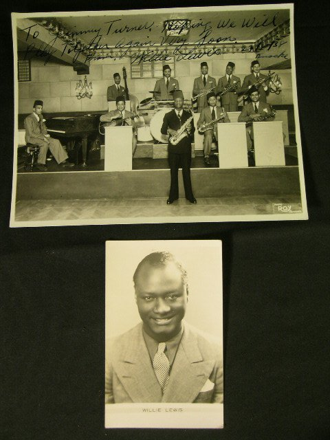 623: 1938 AUTOGRAPH PHOTO JAZZ PIONEER WILLIE LEWIS