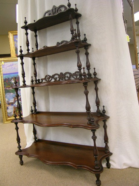 722: ANTIQUE VICTORIAN WHAT-NOT WHATNOT CURIO SHELVES - 2