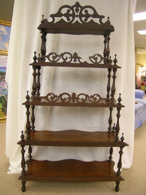 722: ANTIQUE VICTORIAN WHAT-NOT WHATNOT CURIO SHELVES - 7