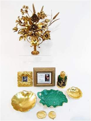 ESTATE LOT GOLD TONED DECORATIVES: HEREND, DIFFUSER,