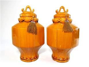PAIR SIENNA GLAZED POTTERY GINGER JARS OR URNS