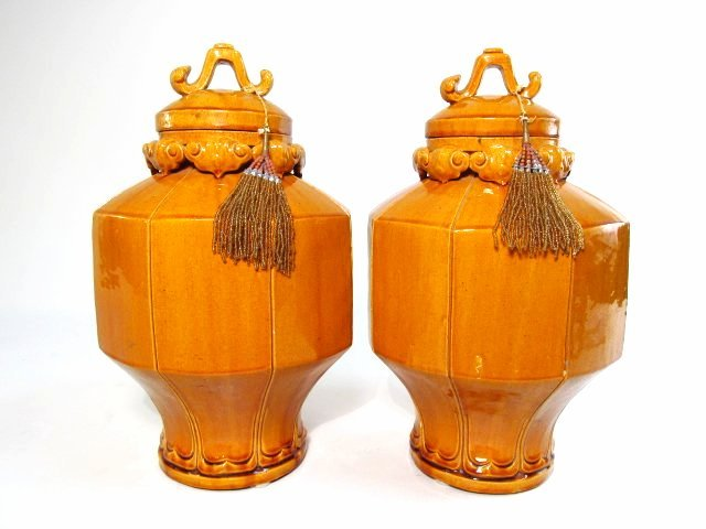 PAIR SIENNA GLAZED POTTERY GINGER JARS OR URNS
