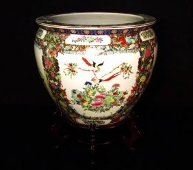 LARGE CHINESE ROSE MEDALLION FISHBOWL ON STAND