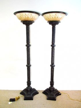 PAIR HEAVY PATINATED BRONZE TORCHIERE FLOOR LAMPS