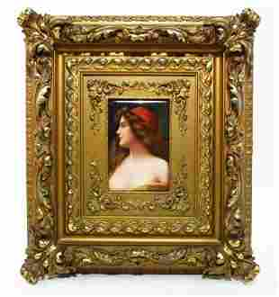 """19TH C HAND PAINTED PORCELAIN PLAQUE BY WAGNER:""""GITANA"""""""