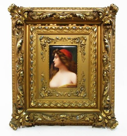 "19TH C HAND PAINTED PORCELAIN PLAQUE BY WAGNER:""GITANA"""