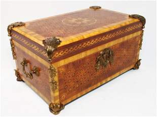 SMALL MAITLAND SMITH MARQUETRY INLAID WALNUT CHEST