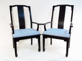 PAIR CHINESE MING STYLE BLACK ARMCHAIRS