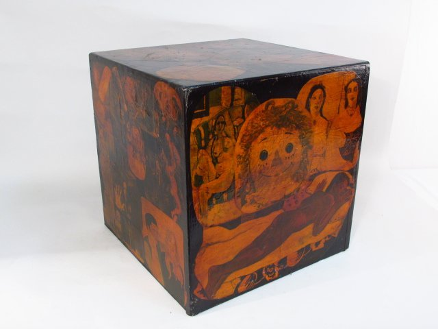 "OUTSIDER ART: DECOUPAGE CUBE 18"" X 18"" X 18"""