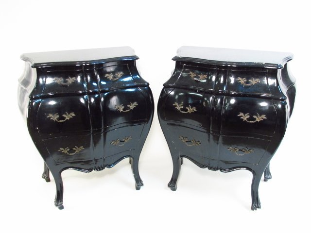 PAIR PETITE VINTAGE ITALIAN BLACK BOMBE COMMODES