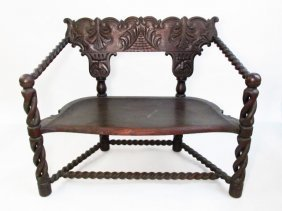 19TH C JACOBEAN STYLE DOUBLE BARLEY TWIST BENCH