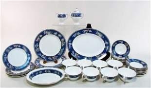 "WEGDWOOD ""BLUE SIAM"" PORCELAIN DINNERWARE: 37 PIECES"