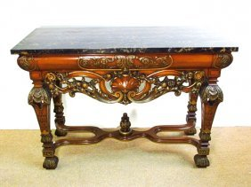 BLACK MARBLE TOP RENAISSANCE STYLE CONSOLE TABLE