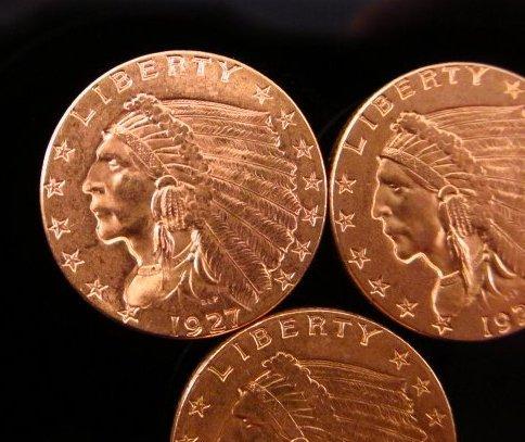 THREE US $2.50 INDIAN HEAD QUARTER EAGLE GOLD COINS - 2