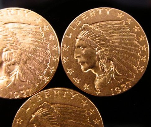 THREE US $2.50 INDIAN HEAD QUARTER EAGLE GOLD COINS - 3