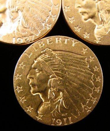 THREE US $2.50 INDIAN HEAD QUARTER EAGLE GOLD COINS - 4