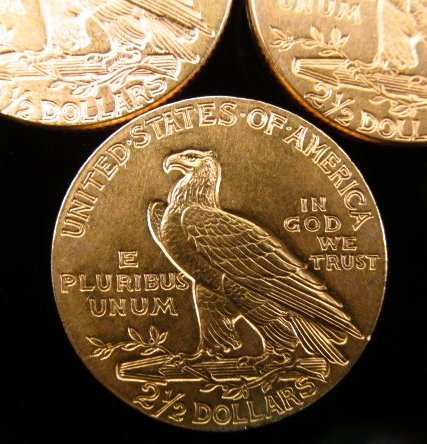 THREE US $2.50 INDIAN HEAD QUARTER EAGLE GOLD COINS - 7