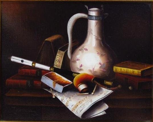 ANTHONY FRANZIA OIL ON CANVAS STILL LIFE PAINTING - 2