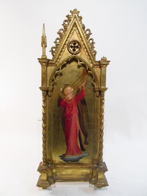 19TH C EUROPEAN SCHOOL ICON IN GOTHIC STYLE FRAME
