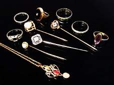 VINTAGE GOLD JEWELRY: STICK PINS, NECKLACE, RINGS