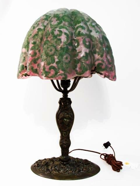 ART NOUVEAU CAST BRONZE FIGURAL TABLE LAMP