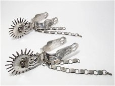 PAIR ANTIQUE MEXICAN SILVER & IRON SPURS