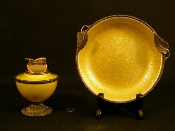 601: EVANS YELLOW ENAMELED GILT ASHTRAY GAS LIGHTER SET