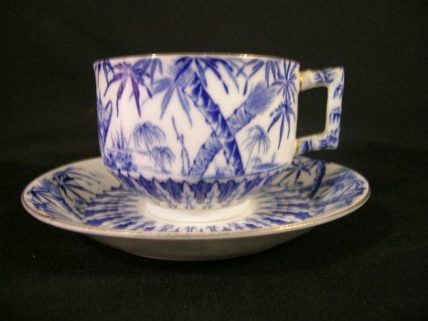 606: DOULTON BURSLEM PORCELAIN BLUE TRANSFERWARE CUP SA