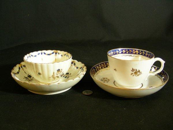 608: ANTIQUE HERCULAMEUM CAUGHLEY CUPS SAUCERS 2 SETS